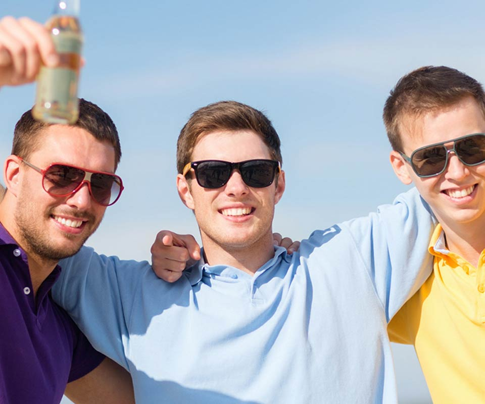 Dude celebrating at a bachelor party