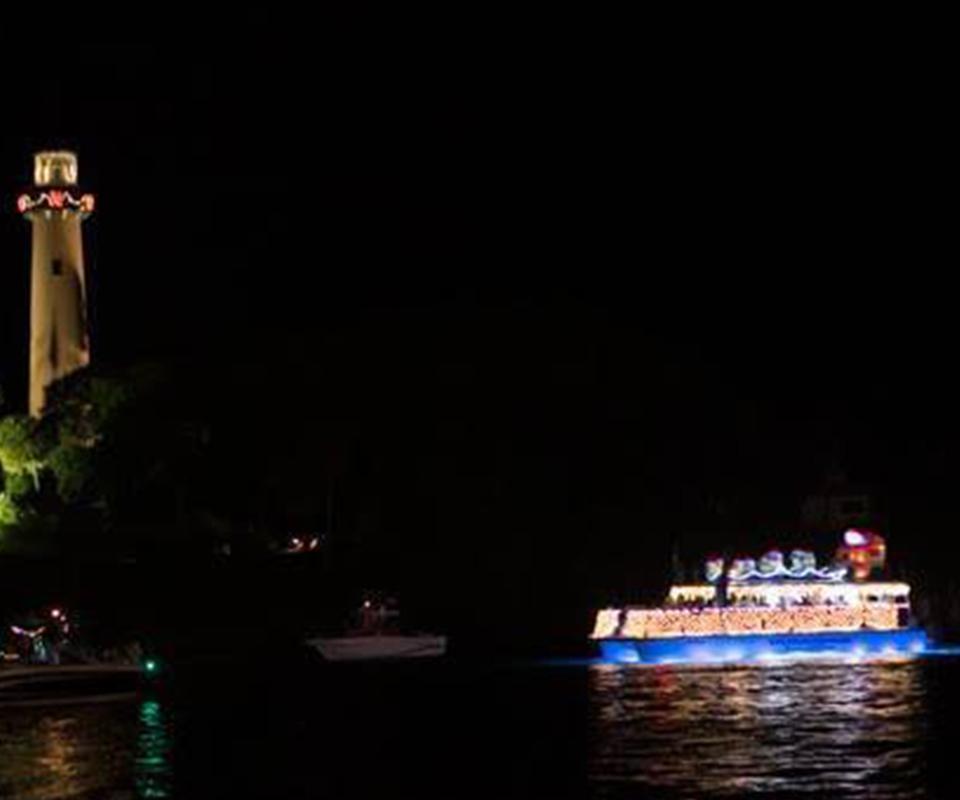 Manatee Queen catamaran with Christmas lights