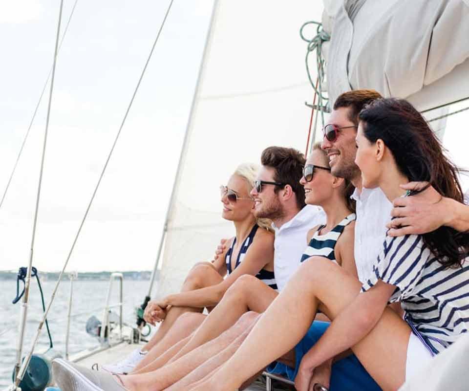 Friends enjoying their boat ride