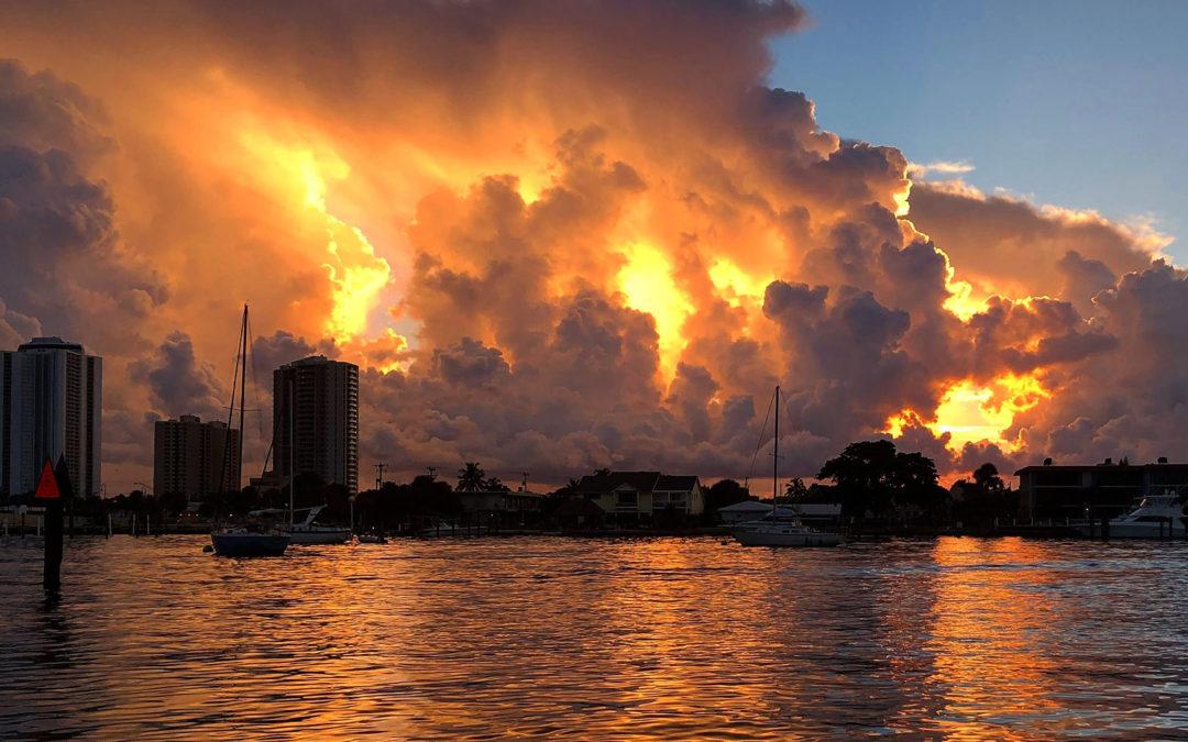 Sunset over coastal city