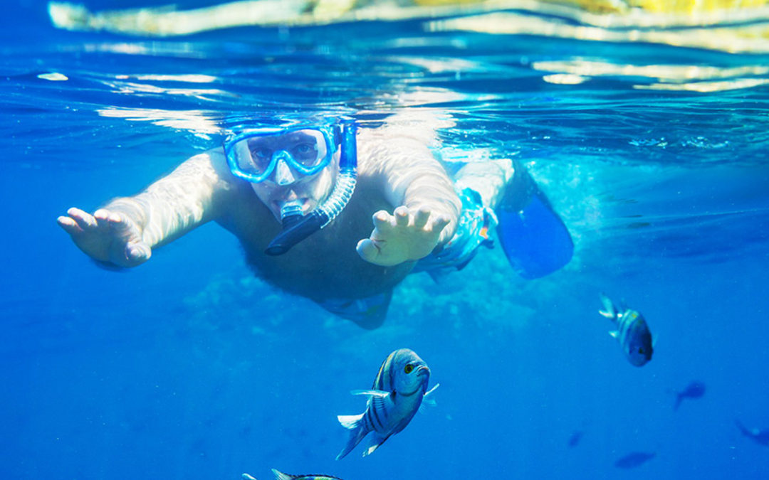 Dude snorkeling with fish