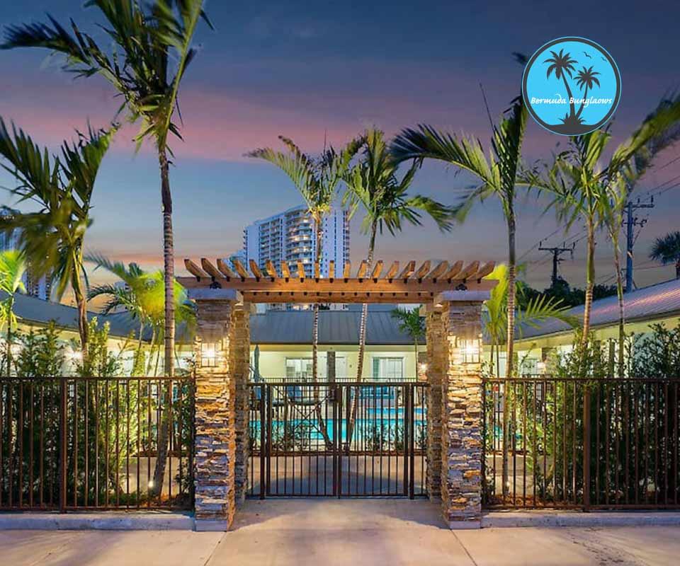 Bermuda Bungalows Palm Beach Florida pool area at night